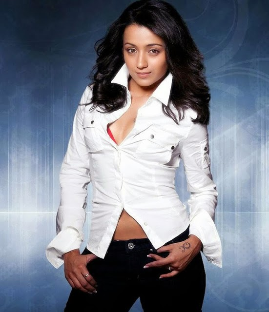 Trisha Hot Cleavage and navel photo