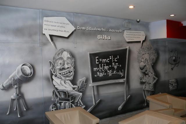 Mural przedstawiający karykatury, malarstwo ścienne na Politechnice Warszawskiej