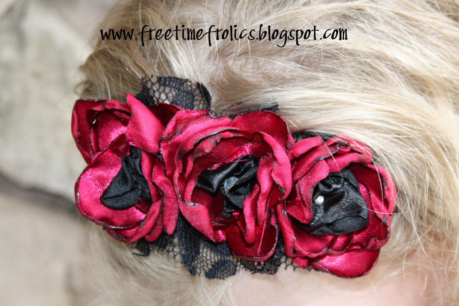 Satin Flower headband www.freetimefrolics.com #hairclip