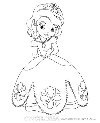 La Princesita Sofia para dibujar y pintar