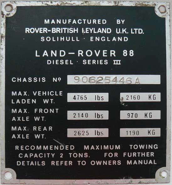 Reduttoras Chassis Numbering Identificar Um Land Rover