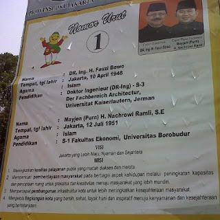 Nih Dia Profil dan Visi Misi Foke dan Jokowi