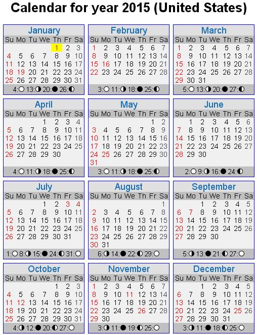 Year 2015 Calendar – United States