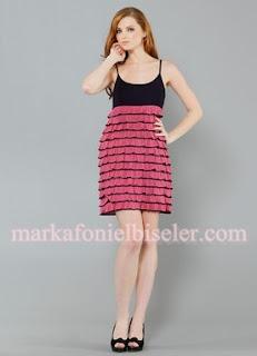 herry 2011 fuşya siyah etekleri fırfırlı mini elbise