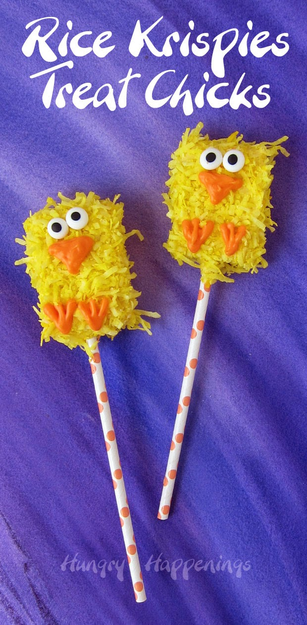 Rice Krispie Treat Chicks | HungryHappenings.com
