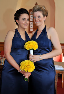 Bridesmaids showing wedding hairstyles for shoulder length hair