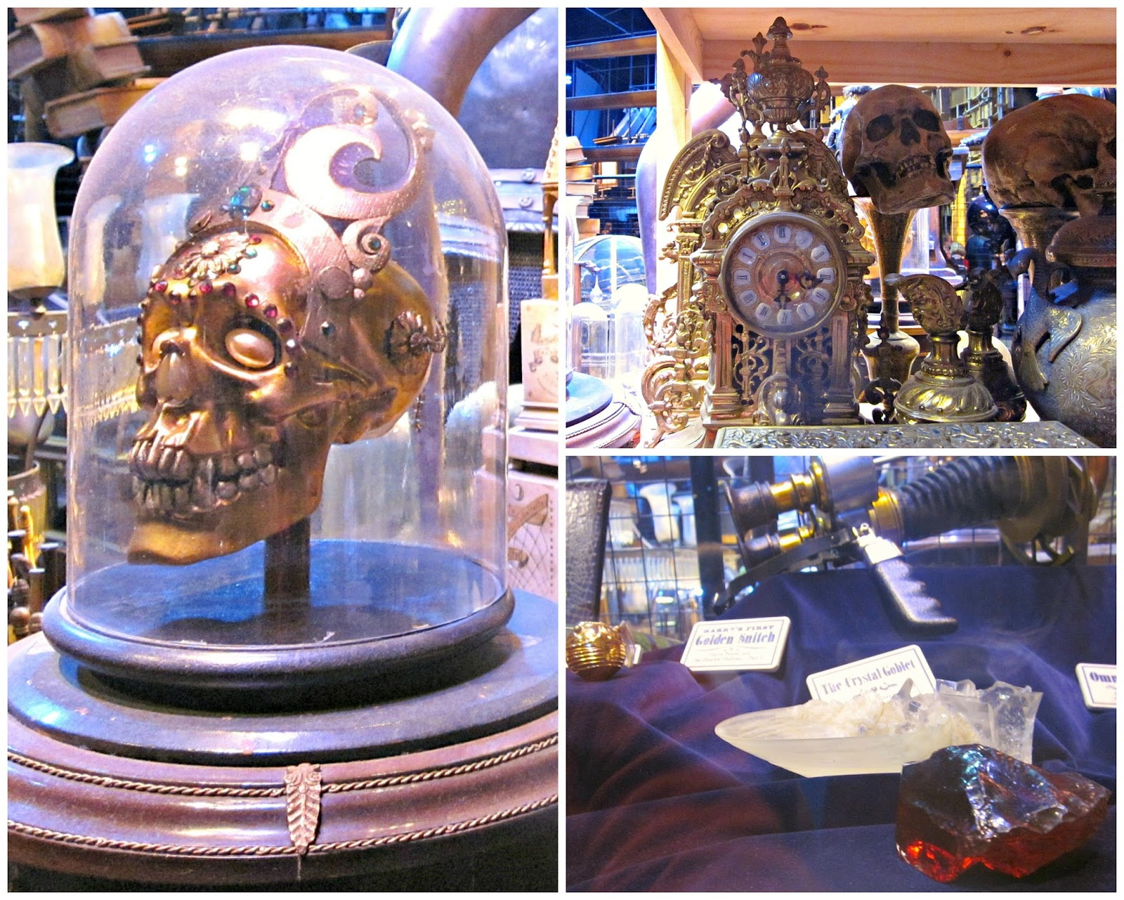 Props at The Making Of Harry Potter Warner Brothers Studio Tour  including gold skull and philosophers stone
