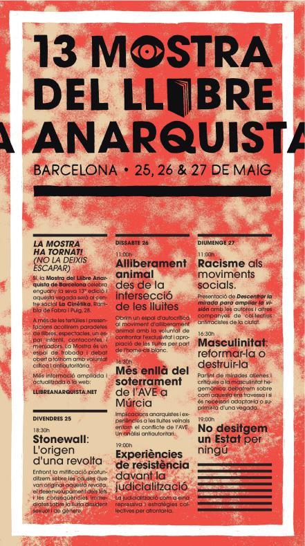 13 Mostra del Llibre Anarquista de Barcelona del 25 al 27 de maig
