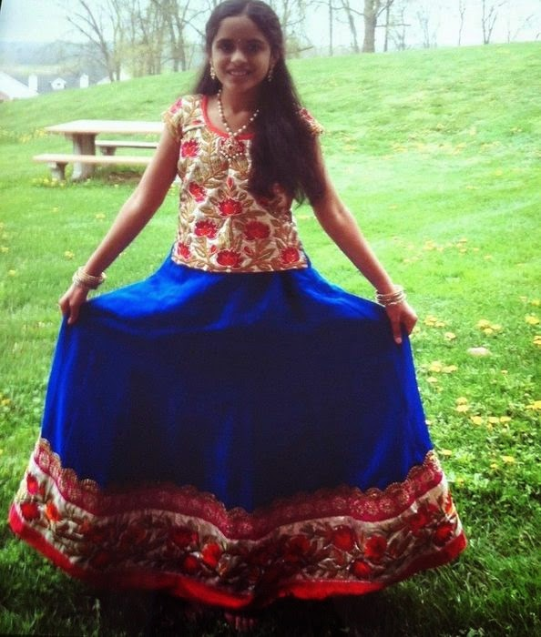 Big Girl in Blue Floral Skirt
