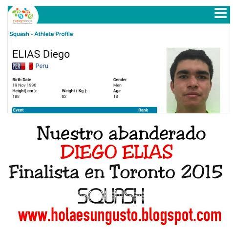 Squash peruano Diego Elías Medalla de Plata en Toronto 2015