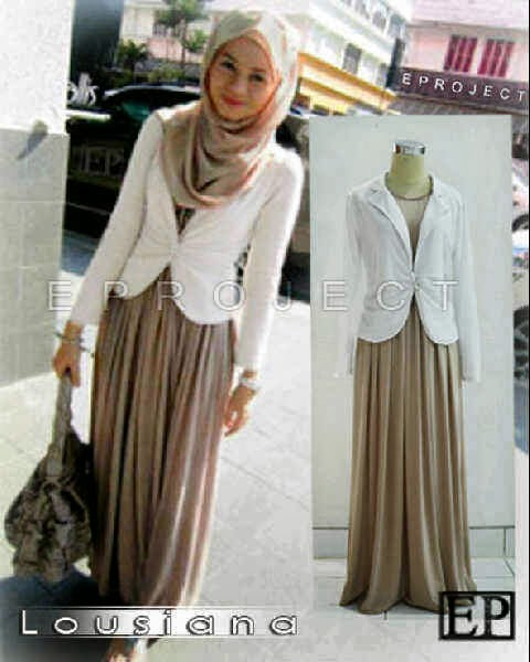 dress tanpa lengan bahan spandek korea+blazer pth babyterry+pashmina korea fit to XL