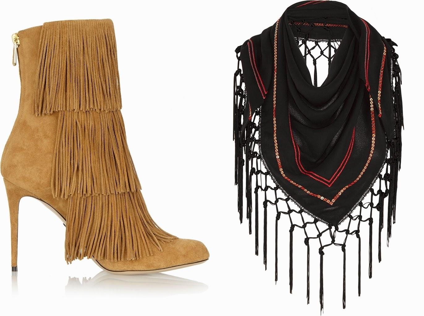 Fringe pieces, fringe boots, fringe scarf, net-a-porter