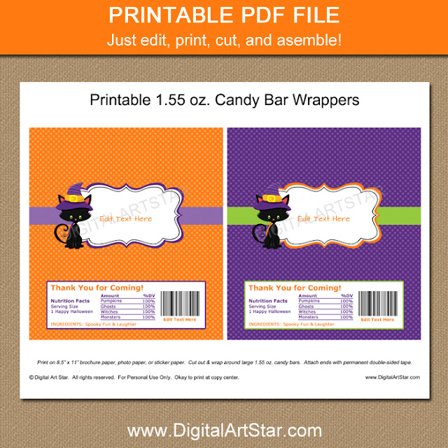 halloween birthday candy wrappers with cat & editable text