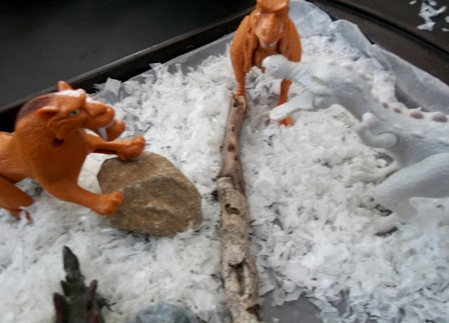 sensory winter activities for kids how to make fake snow diy for Ice Age Dinosaurs