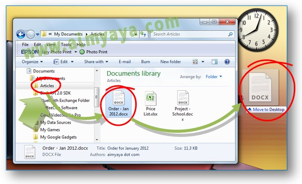 Gambar: Cara membuat shortcut dokumen Microsoft Word di desktop Windows
