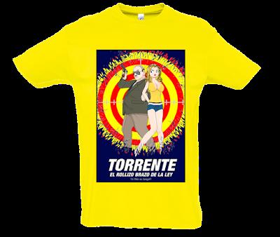 """Camiseta manga corta para hombre """" El Rollizo brazo de la ley"""" color amarillo"""