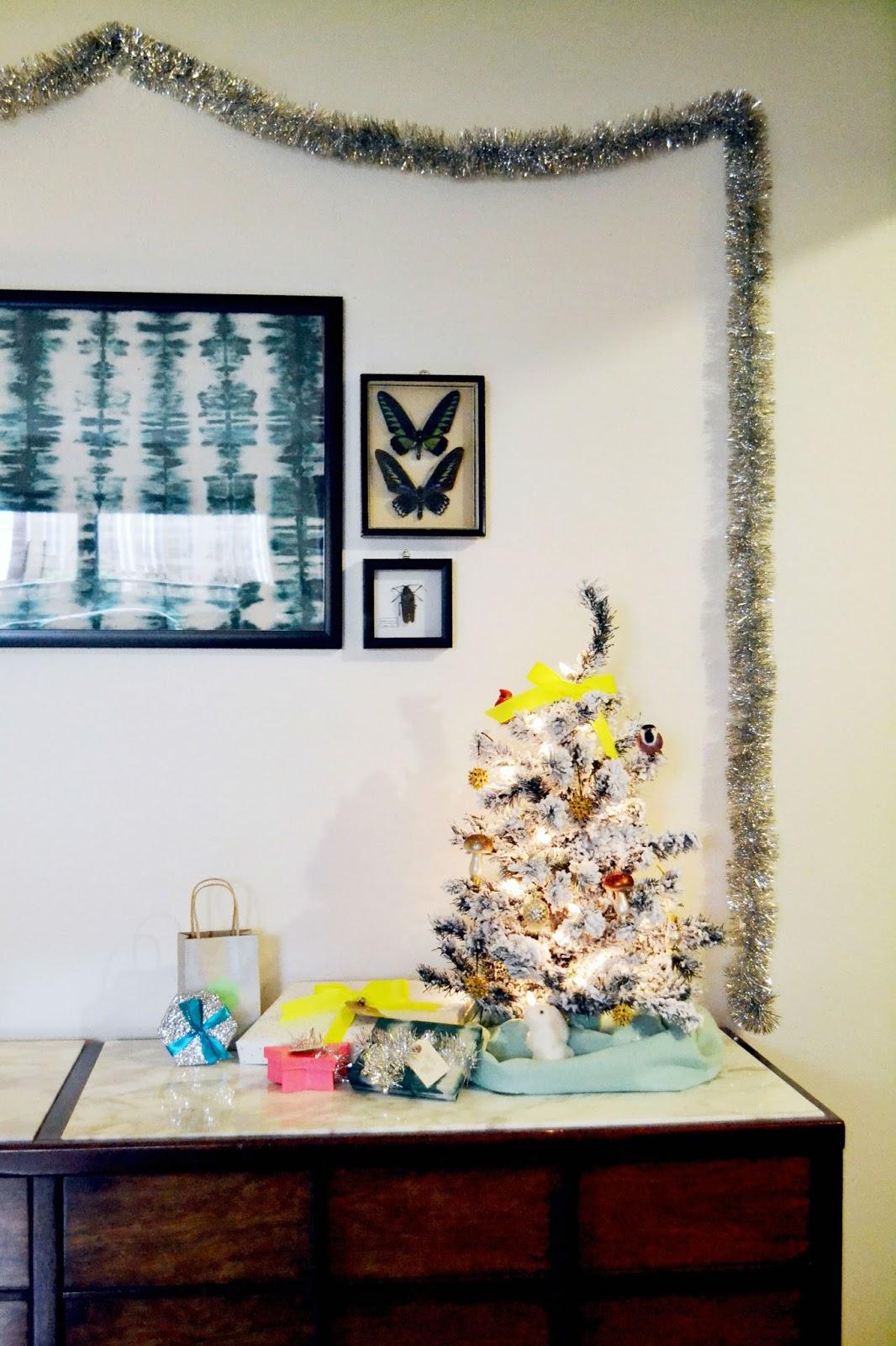 small christmas tree, neon, woodland, christmas decorations, gift wrap, silver, birds