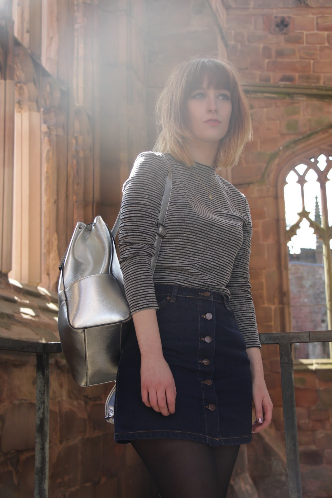 silver bag new look stripes h&m primark denim skirt
