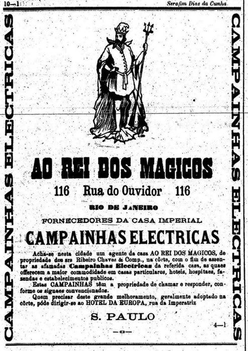 Propaganda do 'Rei dos Mágicos'  que apresentava a revolucionária campainha elétrica.