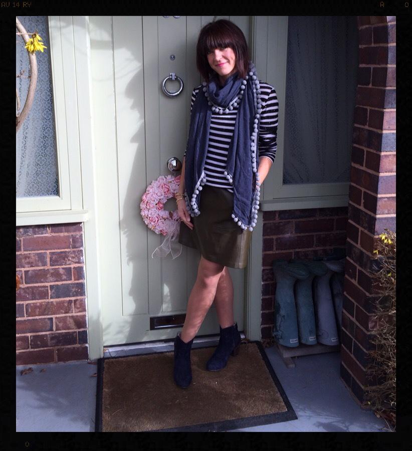 My Midlife Fashion, Zara, Boden, khaki, stripes, breton, pom poms, boho boots