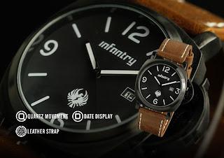 INFANTRY Stylish Mens Date Display Army Sports Brown Leather Quartz Wrist Watch