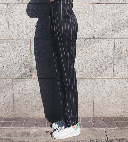 Relaxed Pinstriped Trousers