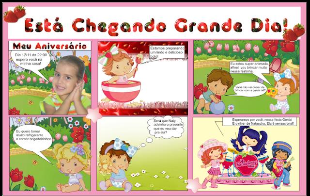 Convite Gibi Moranguinho Baby festa aniversário infantil