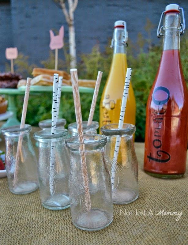 Simple Woodland-Themed Brunch for Fall milk bottles