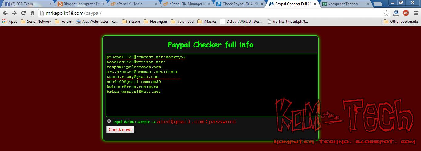 Tampilan V2 Script Paypal Checker