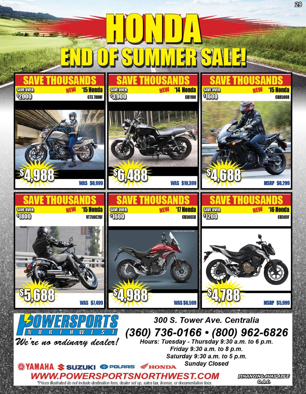 Honda End of Summer Sale @ Powersports Northwest!!