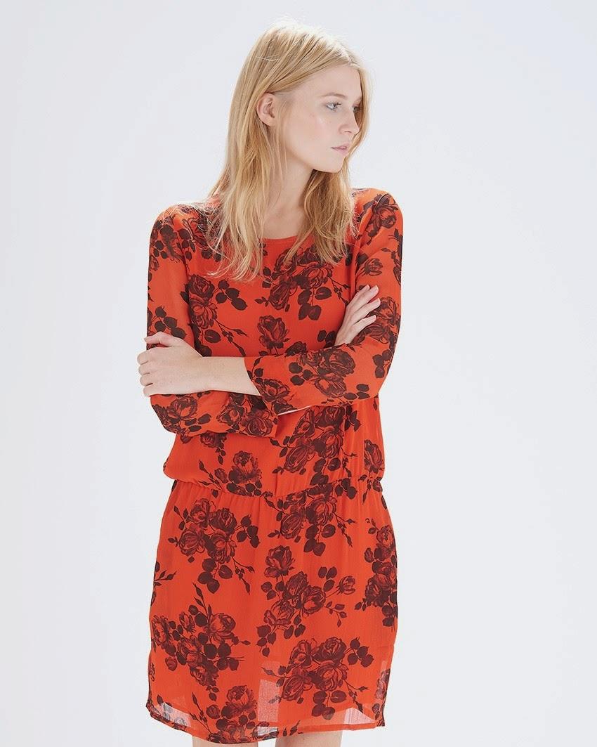 red ganni dress black flowers,