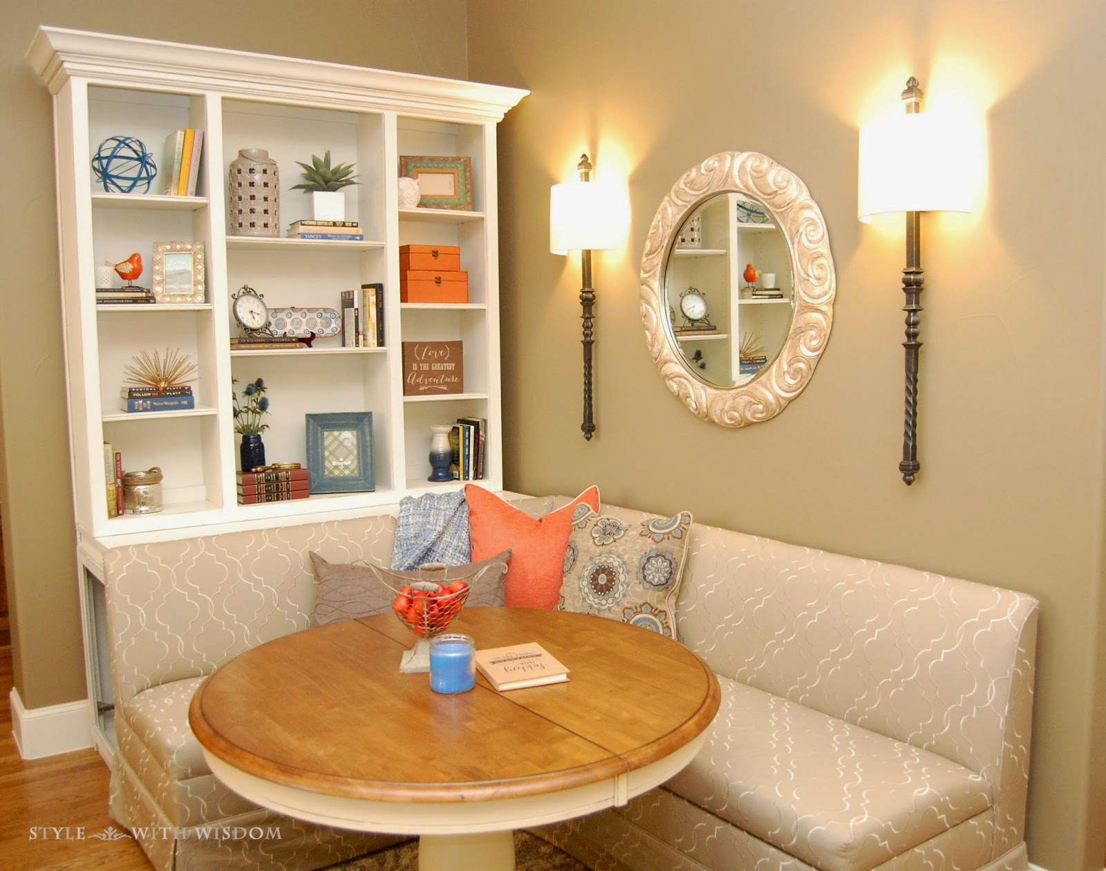 Breakfast Nook  with bookcase Navy and Orange