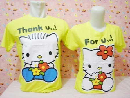 Baju Couple Hello Kitty Warna Kuning