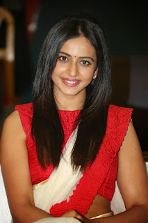 Rakul Preet Singh in beautiful new hairstyle Straight lovely hairs Red Whtie Saree Stunning Cute