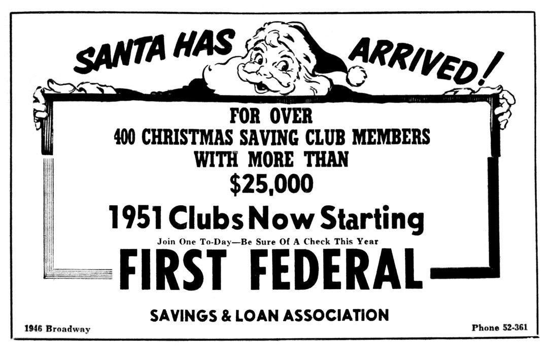 first federal savings christmas ad 1950 - Day After Christmas Ads