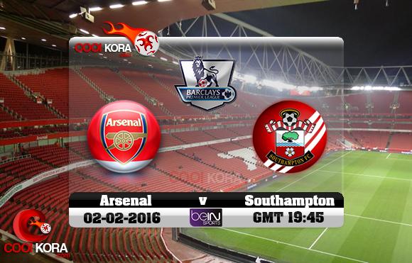 مشاهدة مباراة آرسنال وساوثهامتون اليوم 1-2-2016 في الدوري الإنجليزي