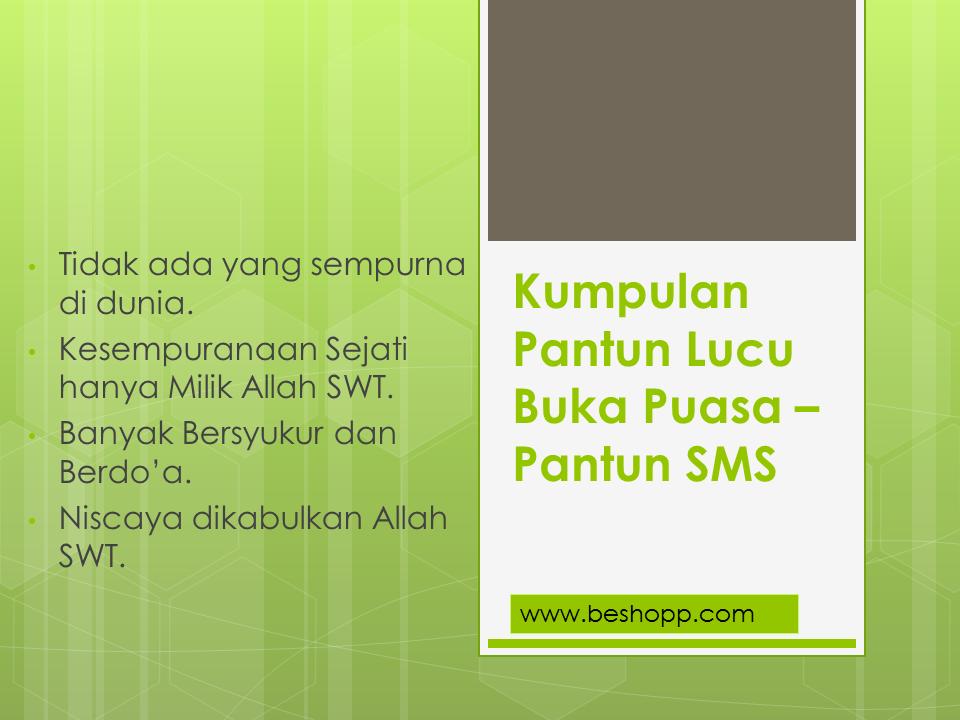 Kumpulan Pantun Lucu Buka Puasa Terbaru, SMS Lucu
