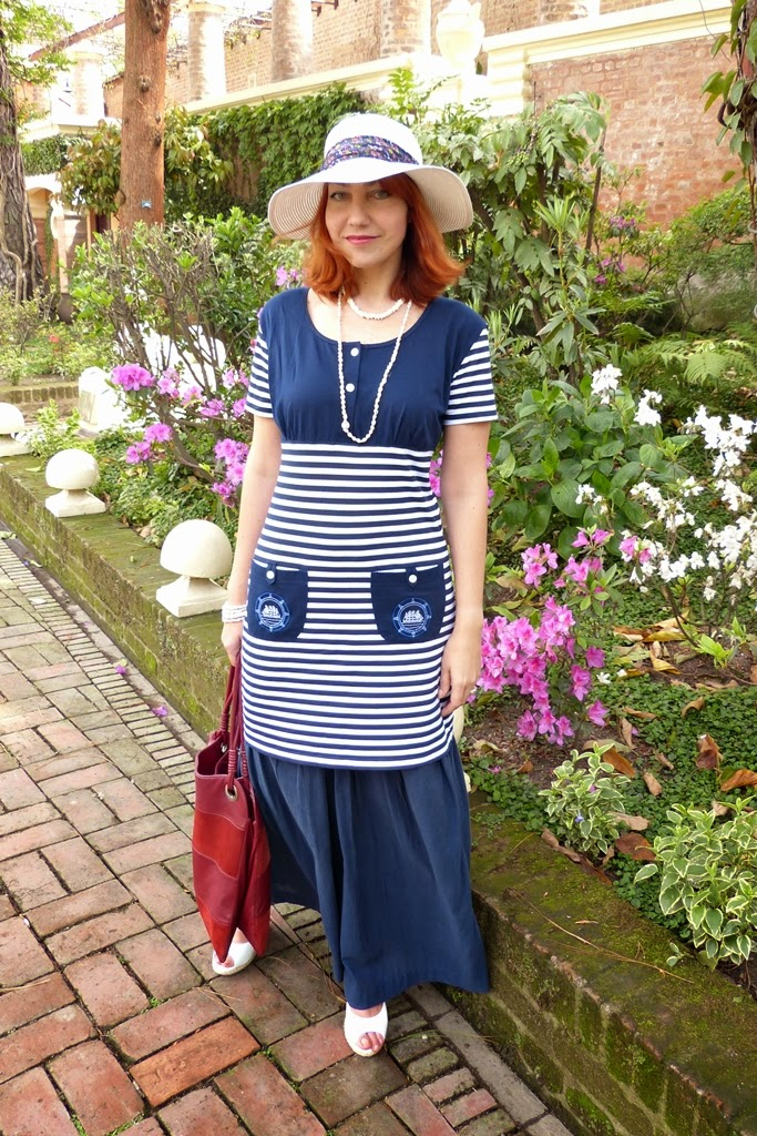 Nautical outfit, dress worn over maxi skirt