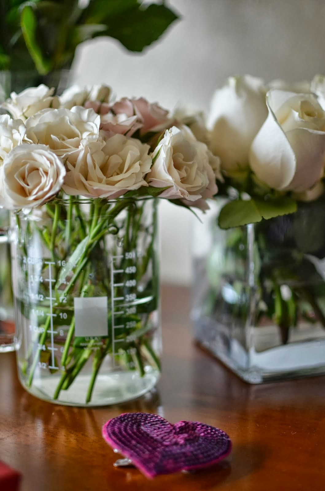Valentine's Day prep, Valentine's day, red and pink, Vogue, sweets, white roses, tea roses, roses in beakers
