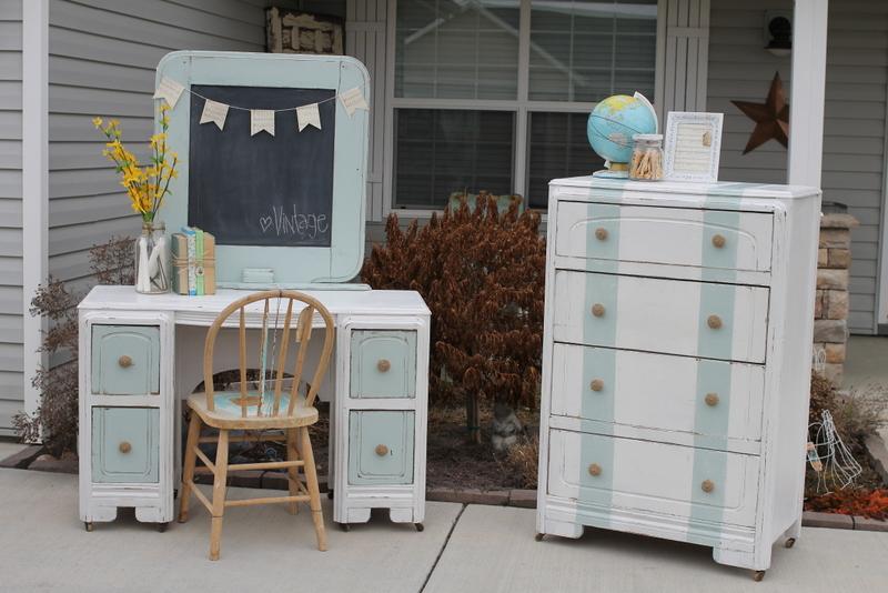 Matching Dresser And Desk Set