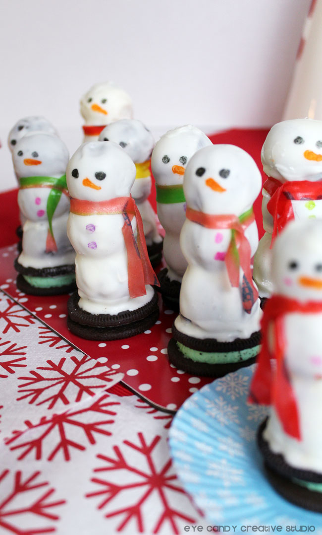 mint OREO, snowman treats with scarves, how to make snowmen