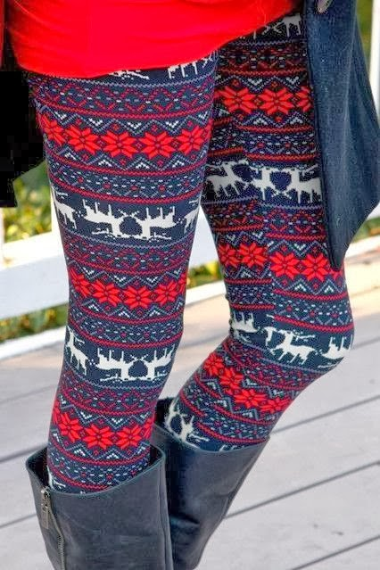 Adorable and Colorful Deer Patterned Leggings with Long Boots for Fall & Winter Fashion