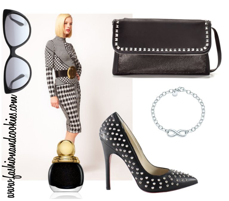 feminine look with studded shoes, Infinity bracelet, Fashion and Cookies