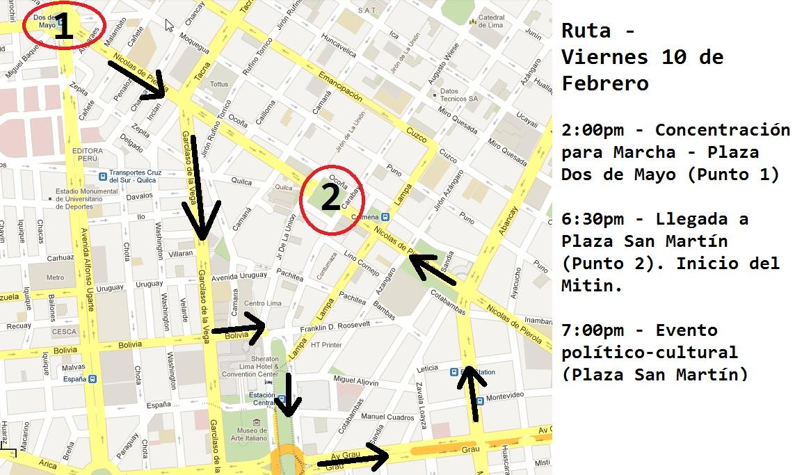 Numero De Ruta Banca Oriental:La ruta de la Gran Marcha Nacional del Agua en Lima el 10 de Febrero