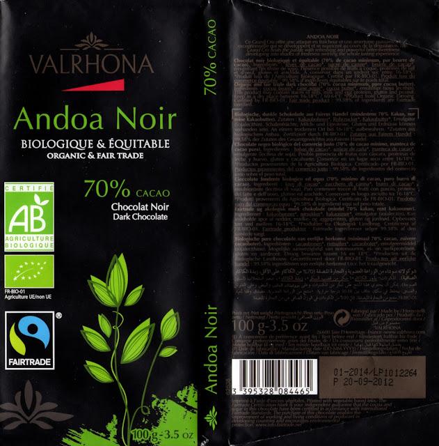 tablette de chocolat noir dégustation valrhona andoa noir 70