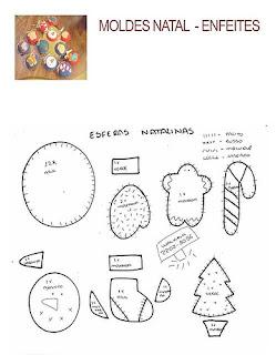 Moldes para feltro de enfeites para árvore de natal
