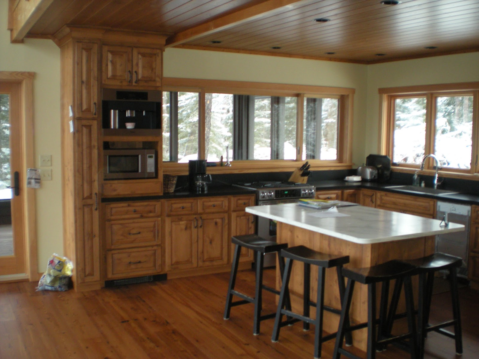 Knotty Pine Kitchen Cabinets with Countertops
