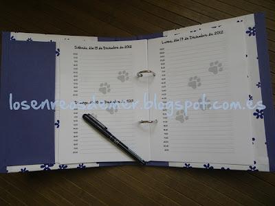 Agenda realizada en cartonaje con páginas personalizadas