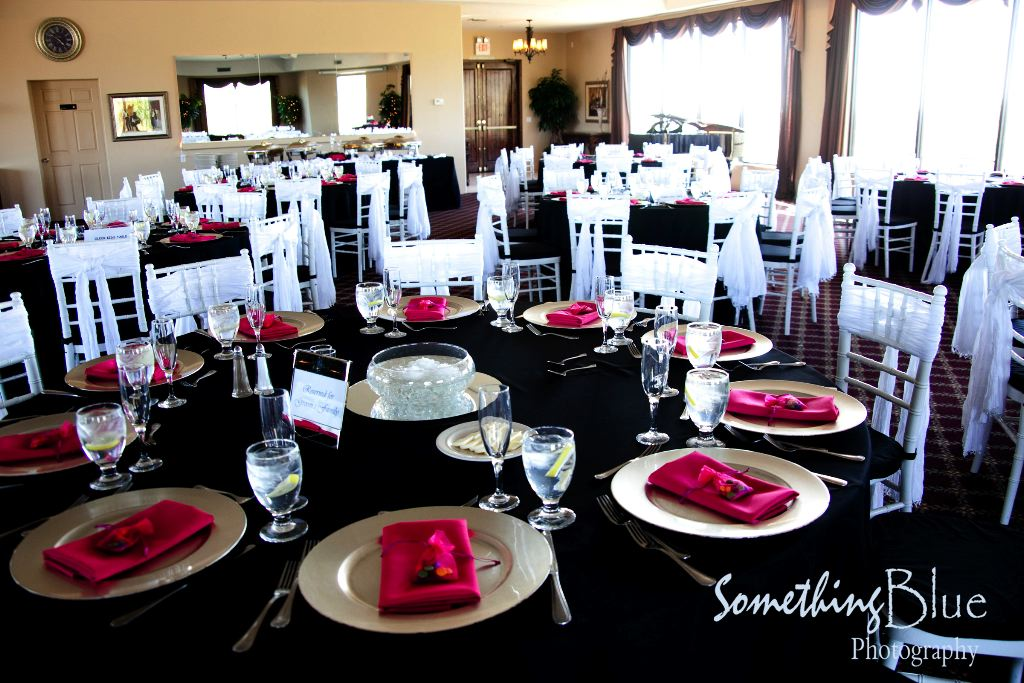 Black White And Pink Wedding Table Settings Castrophotos
