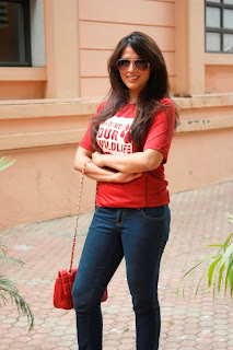 Richa Chadda Looks Cute in Red T Shirt and Denim Jeans at Country Club Resort Launch Mumbai